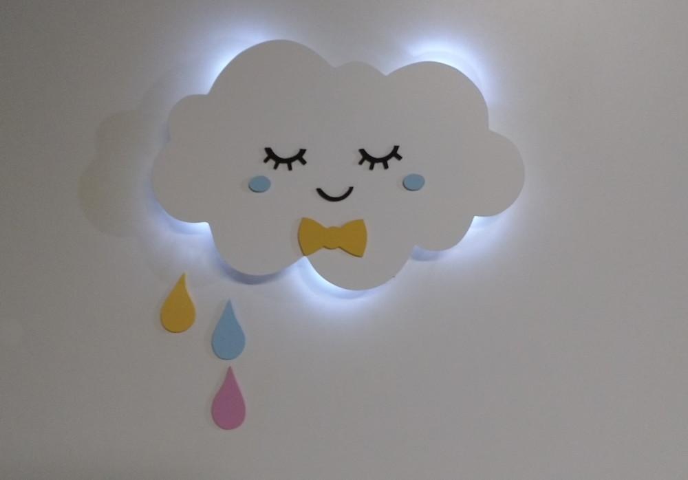Nuvem com luz de led gotas de chuva luminaria quarto menino Luartebaby Elo7