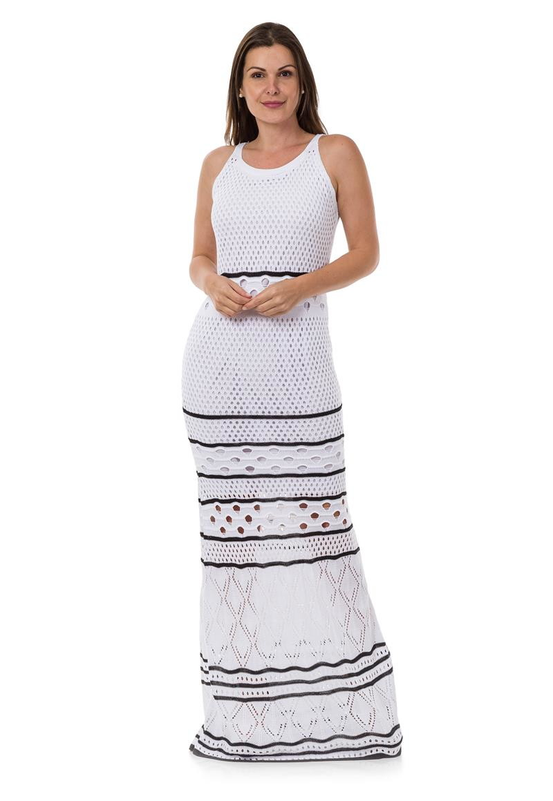 da375e421 Vestido Longo Feminino de Tricot Tricô Listrado Branco 04945 no Elo7 ...