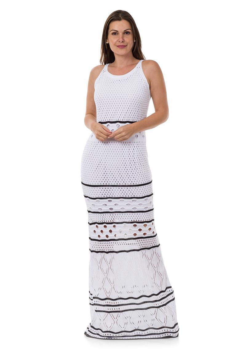 a0b7dcea1 Vestido Longo Feminino de Tricot Tricô Listrado Branco 04945 no Elo7 ...