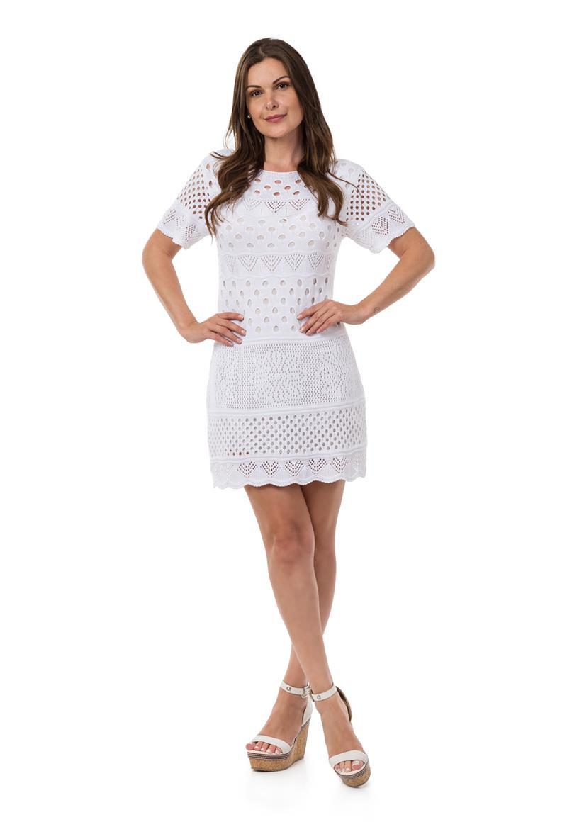 ac994529e Vestido Curto Feminino de Tricot Manga Curta Off White 04949 no Elo7 ...