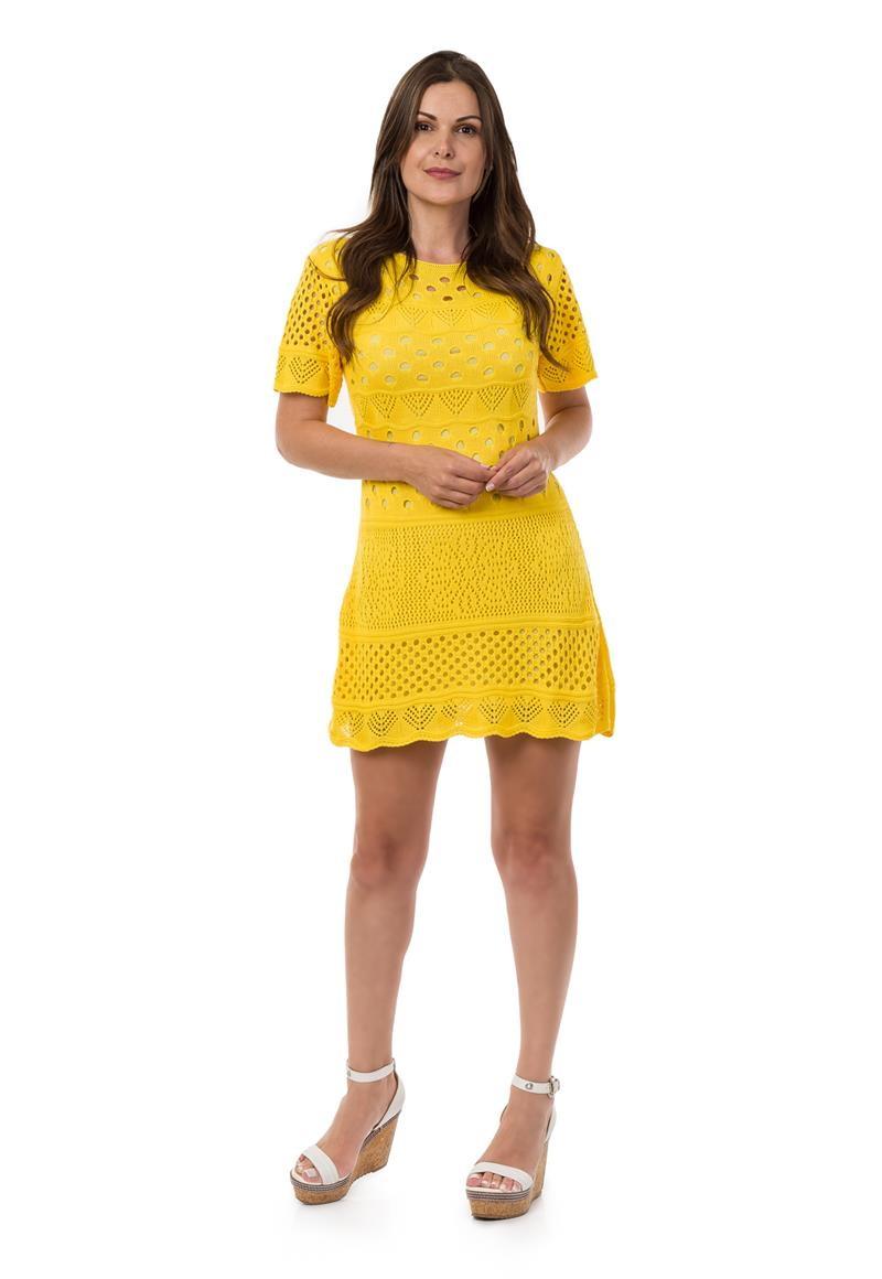 dee5110438 Vestido Curto Feminino de Tricot Manga Curta Amarelo 04949 no Elo7 ...