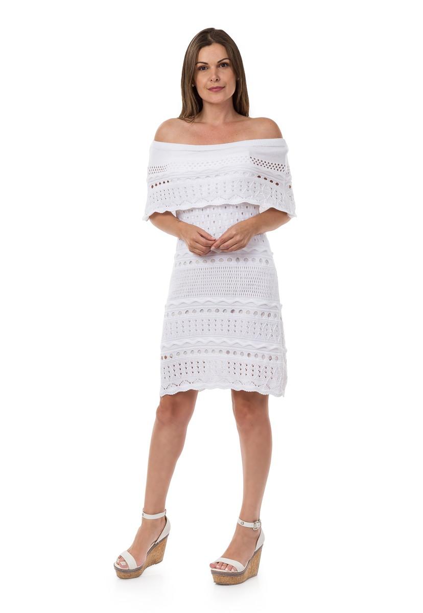 Vestido Curto Feminino de Tricot Ombro a Ombro Branco 04963 no Elo7 ... c972c86d4de