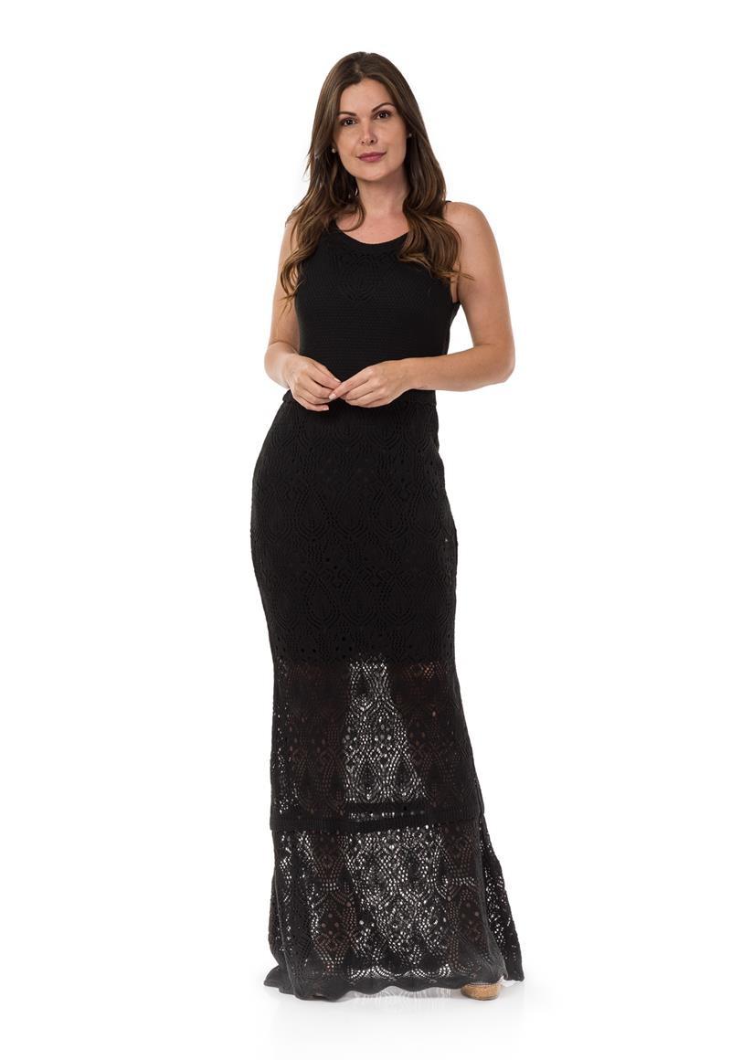 Vestido longo tricot preto
