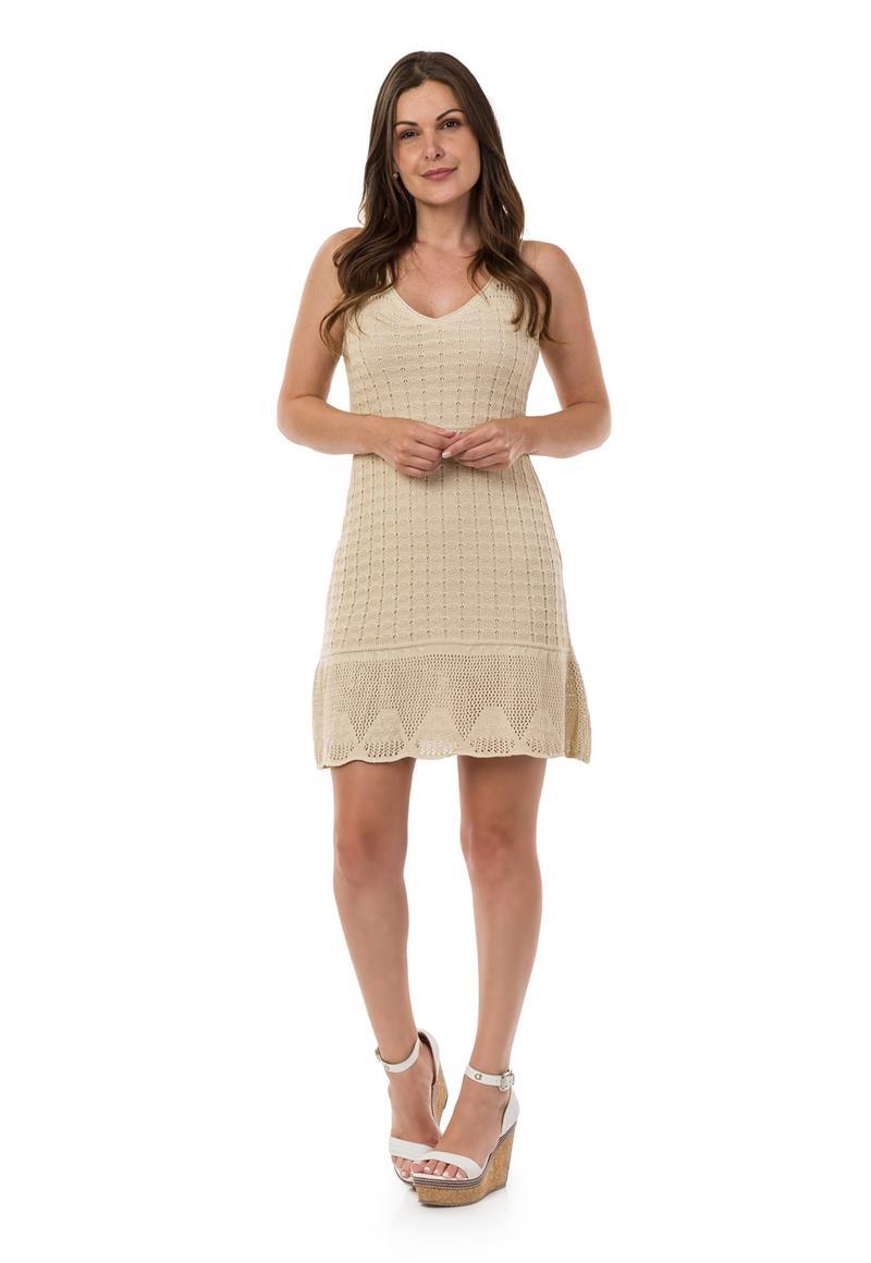 0d234ba7d Vestido Curto Feminino de Tricot Decote em V Bege 04951 no Elo7 ...