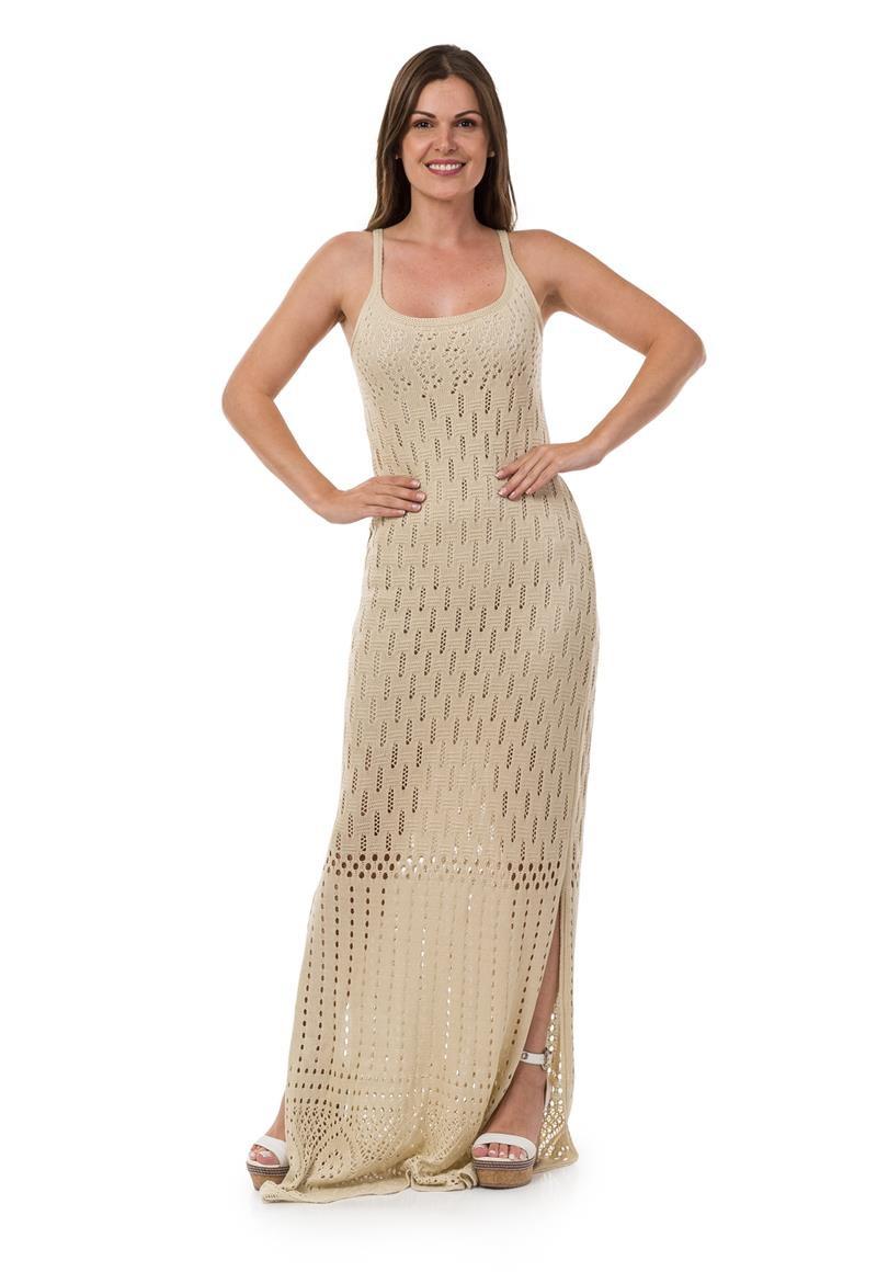 5139ccb94544 Vestido Longo Feminino Tricot Decote nas Costas Bege 04953 no Elo7 ...