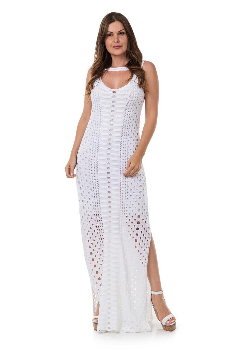 d39baacd5e14 Vestido Longo de Tricot Tricô Decote Redondo Branco 04954 no Elo7 ...