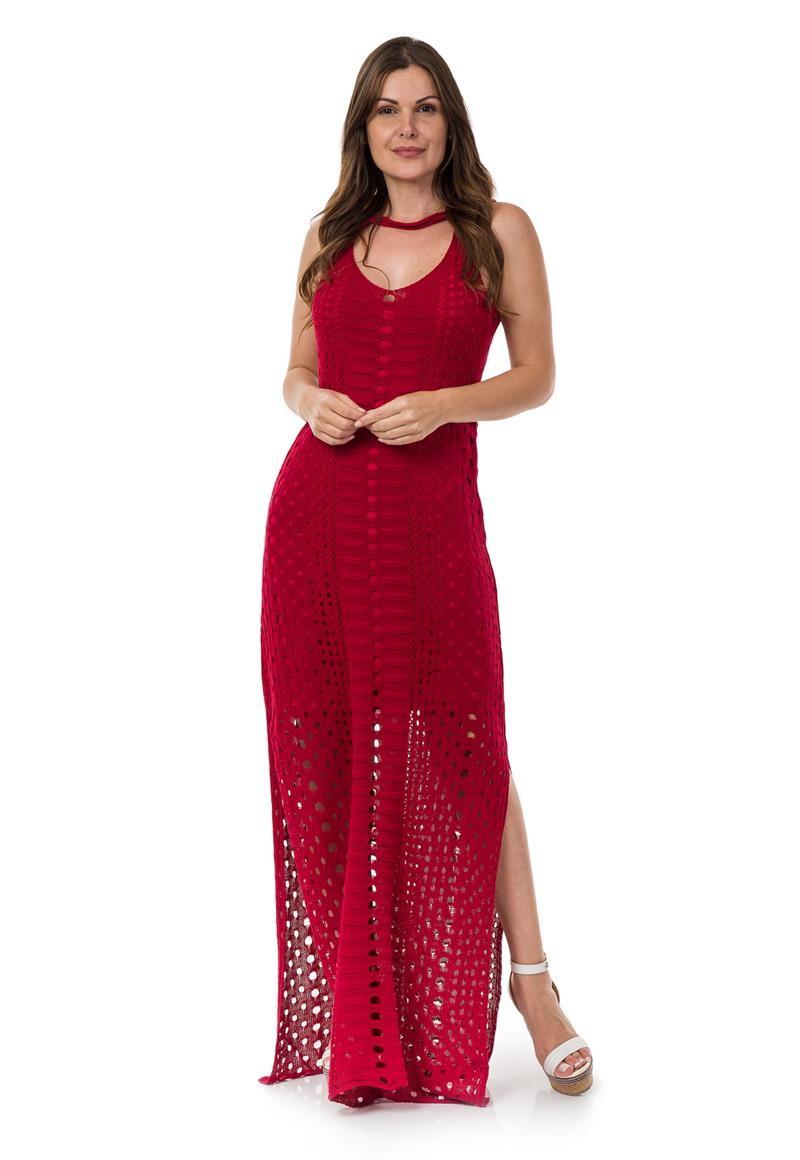 df837e3a4198 Vestido Longo de Tricot Tricô Decote Redondo Vermelho 04954 no Elo7 ...