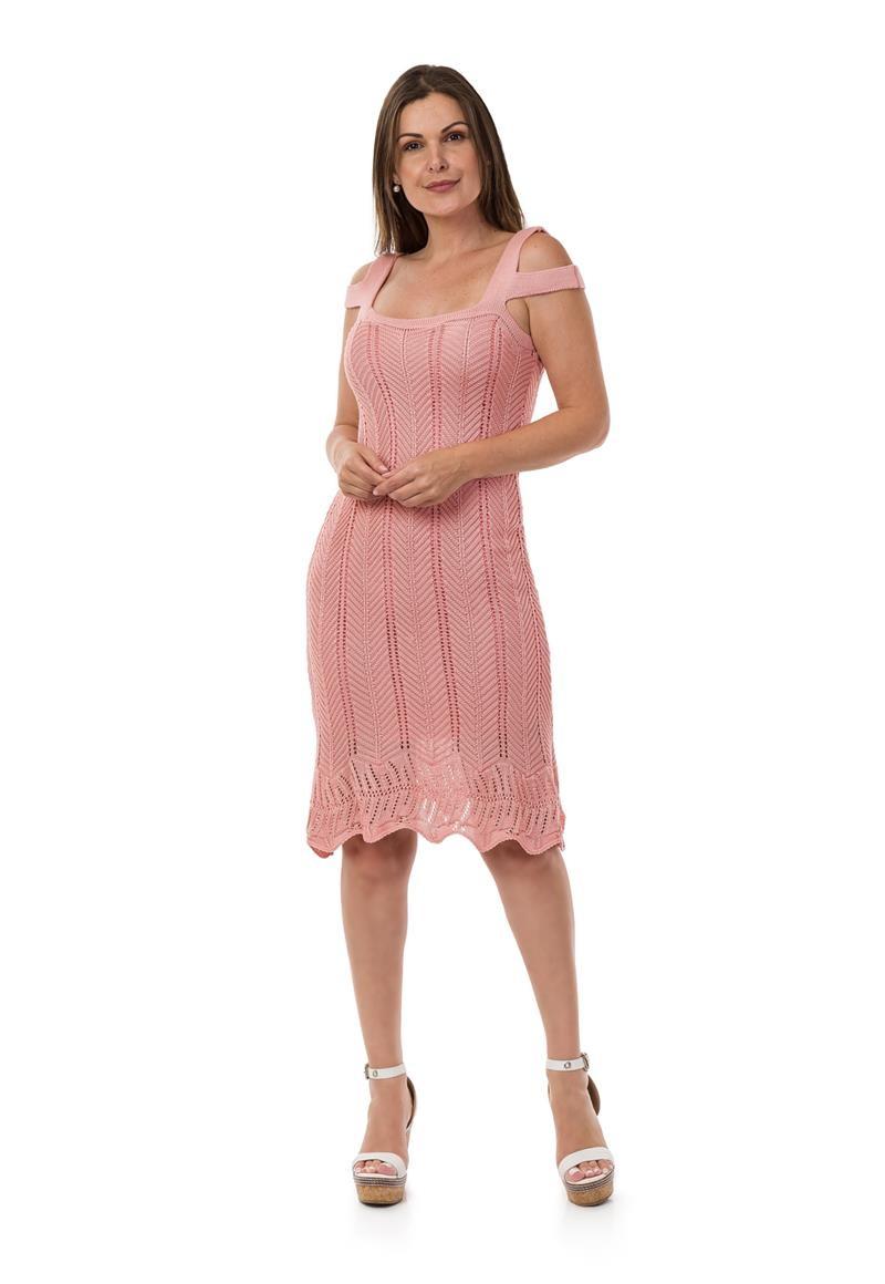 d00e64c94 Vestido Curto Feminino Tricot Tricô Alças Rosa Claro 04964 no Elo7 ...