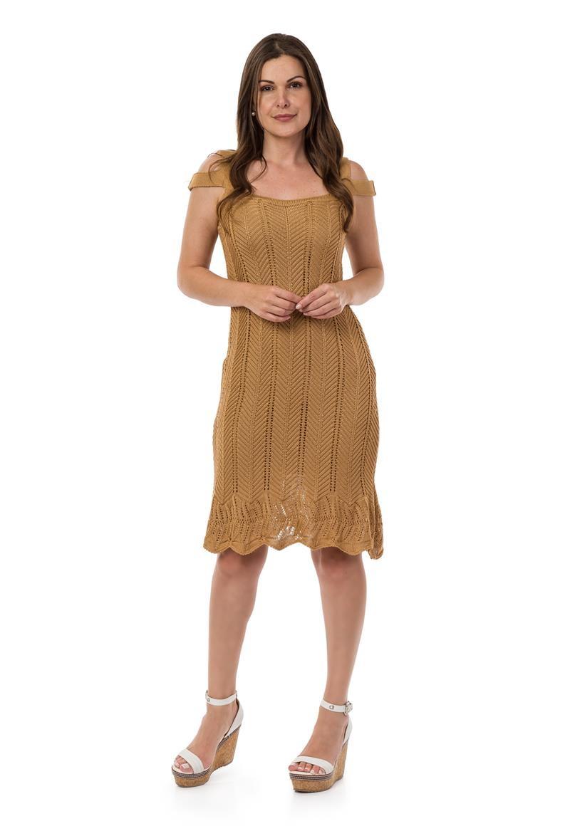 4e067191c3 Vestido Curto Feminino Tricot Alças Dupla Dourado 04964 no Elo7 ...