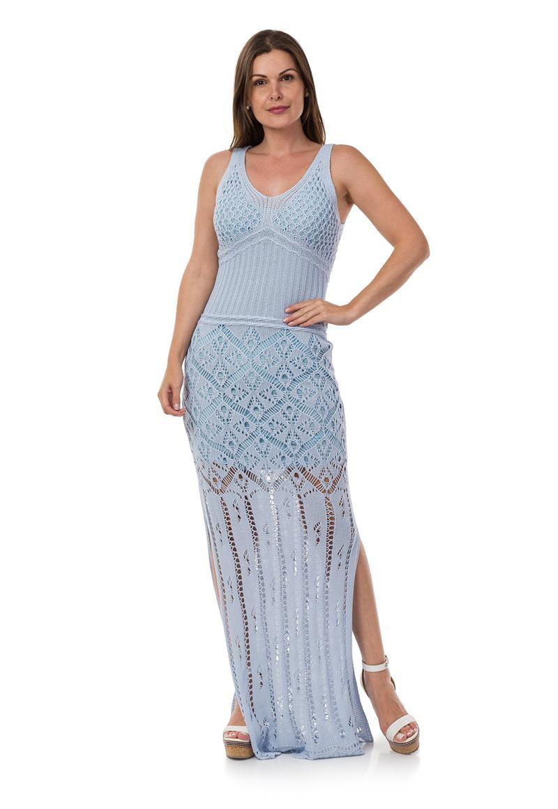 f16a374ff908 Vestido Longo Tricot Decote nas Costas Azul Claro 04966 no Elo7 ...