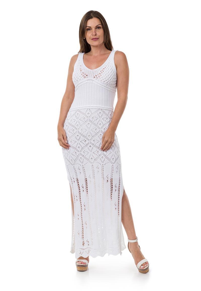 474c1268b9 Vestido Longo Feminino Tricot Decote nas Costas Branco 04966 no Elo7 ...