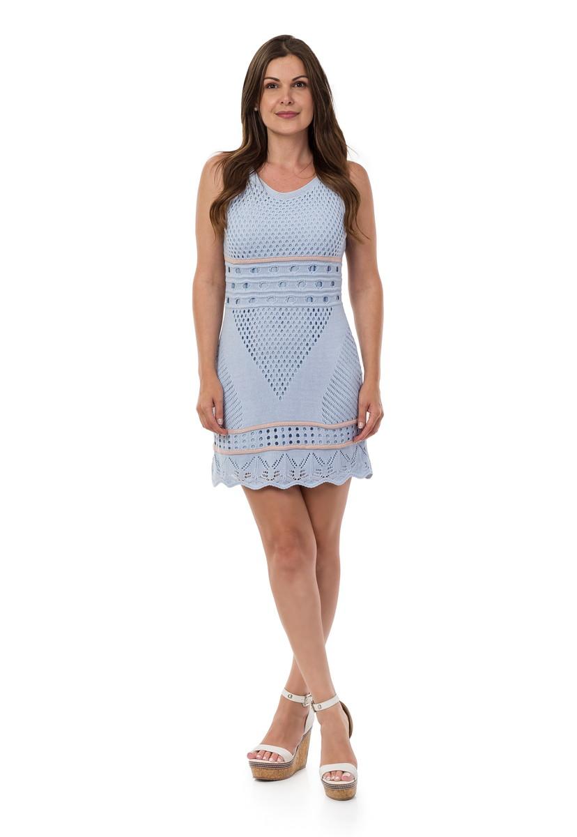 e0de45f456 Vestido Curto Feminino Tricot Listras Azul Claro 04955 no Elo7 ...