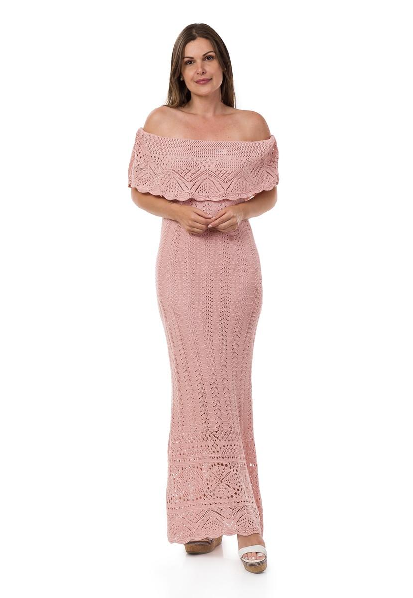 48559d83a9 Vestido Longo de Tricot Ombro a Ombro Renda Rosa Claro 04819 no Elo7 ...
