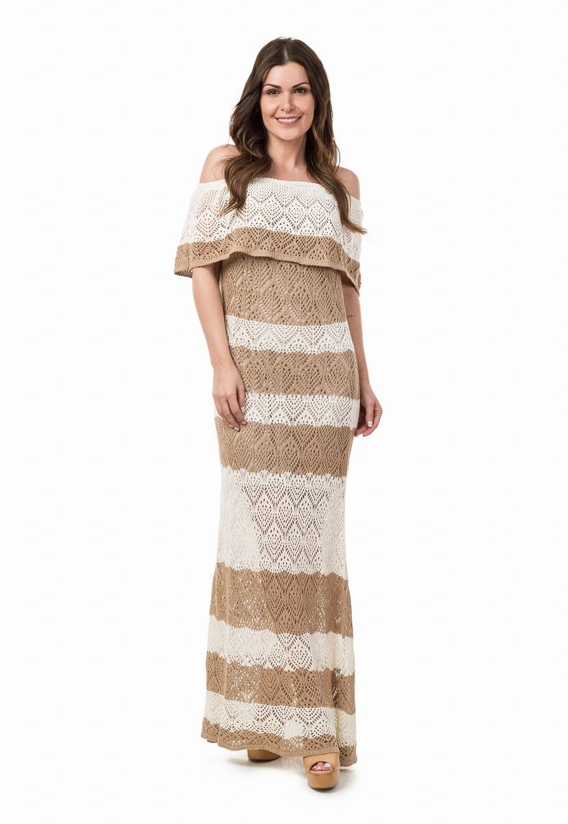 Vestido Longo Tricot Ombro A Ombro Listras Begeoff 04926