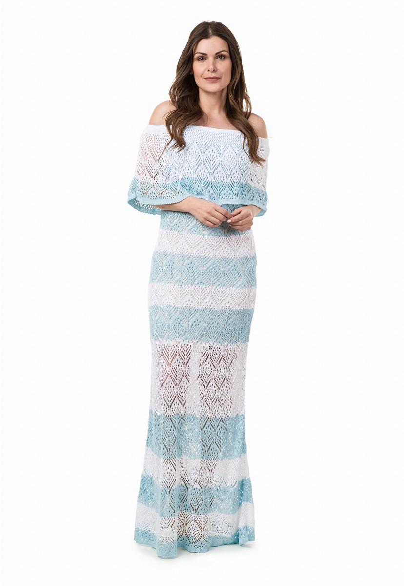 0495bd0dbd Vestido Longo Tricot Listrado Azul Claro Branco 04926 no Elo7