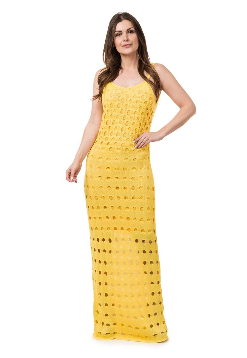 7aa7bf534c1c Vestido Longo de Tricot Decote nas Costas Amarelo 04818 no Elo7 ...