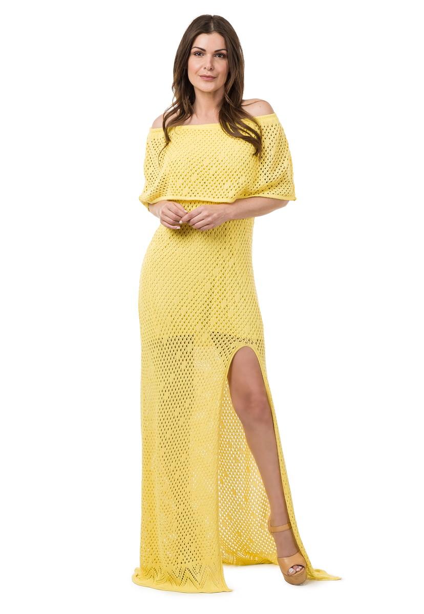 6dc63e407e Vestido Longo Tricot Decote Ombro a Ombro Amarelo 04929 no Elo7 ...