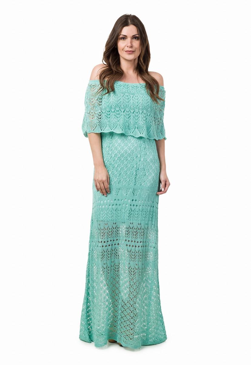 11ab030cb6 Vestido Longo Feminino de Tricot Ciganinha Verde Claro 04815 no Elo7 ...