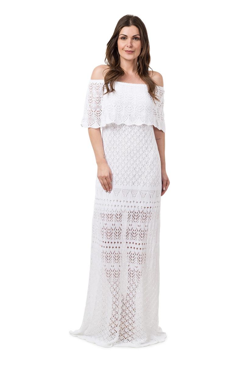 65ab5be643 Vestido Longo Feminino de Tricot Ciganinha Branco 04815 no Elo7 ...
