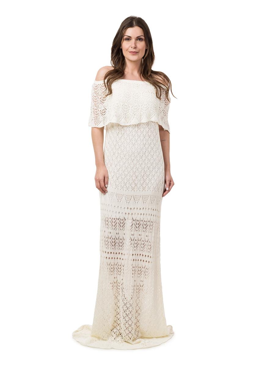 1ffa7dadc Vestido Longo Feminino de Tricot Ciganinha Off White 04815 no Elo7 ...