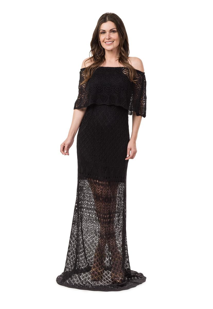 Vestido Longo Feminino De Tricot Ciganinha Preto 04815