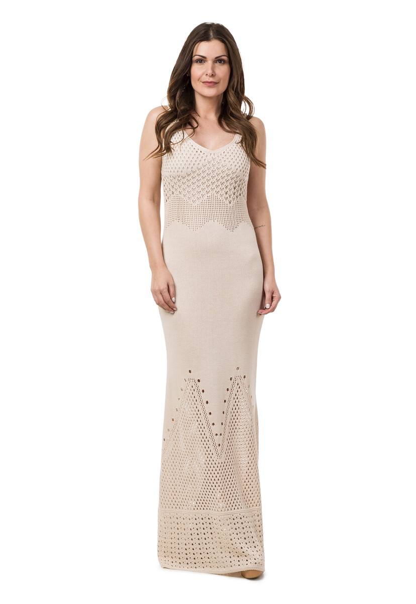 112bd5dbfc Vestido Longo Feminino de Tricot Rendado Bege 04783 no Elo7