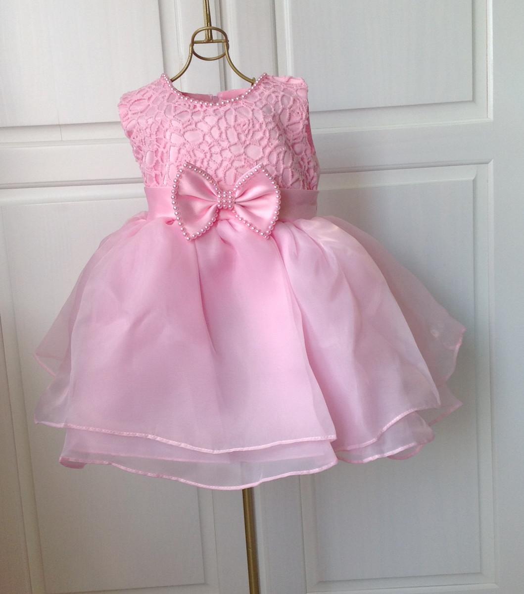 Excelente Vestido Rosa Boda Del Bebé Galería - Colección de Vestidos ...