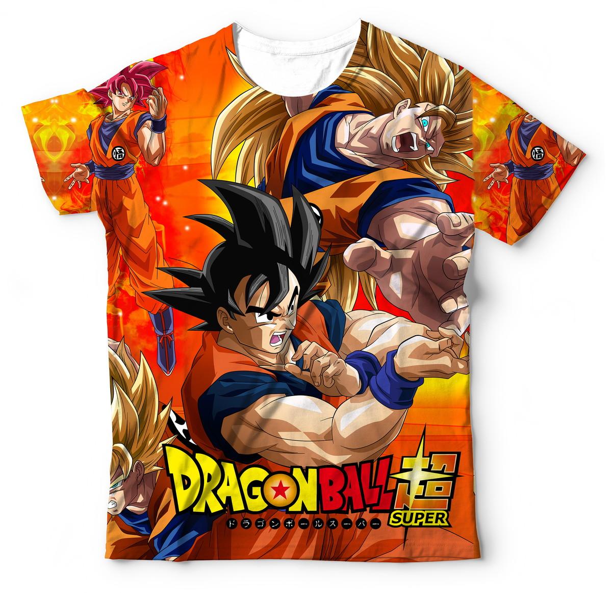 dd4c27543f Camisa Camiseta Blusa Goku Super Saiyan Transformações Deus no Elo7 ...