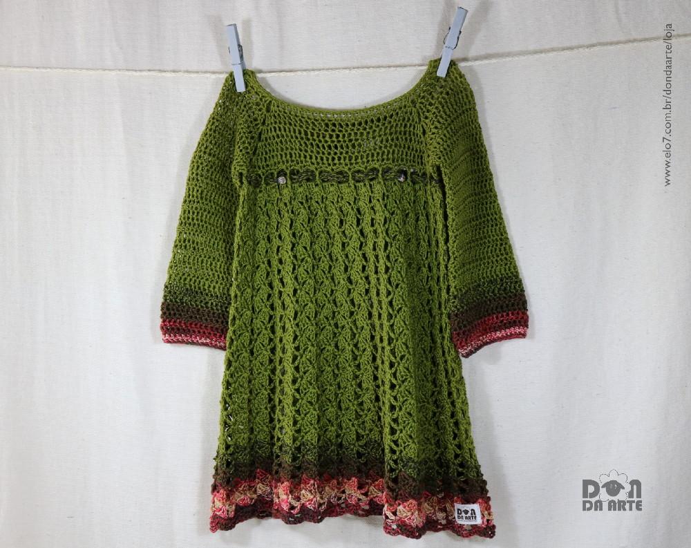 Vestidinho Verde Feito Em Crochê Infantil Veste 2 Anos