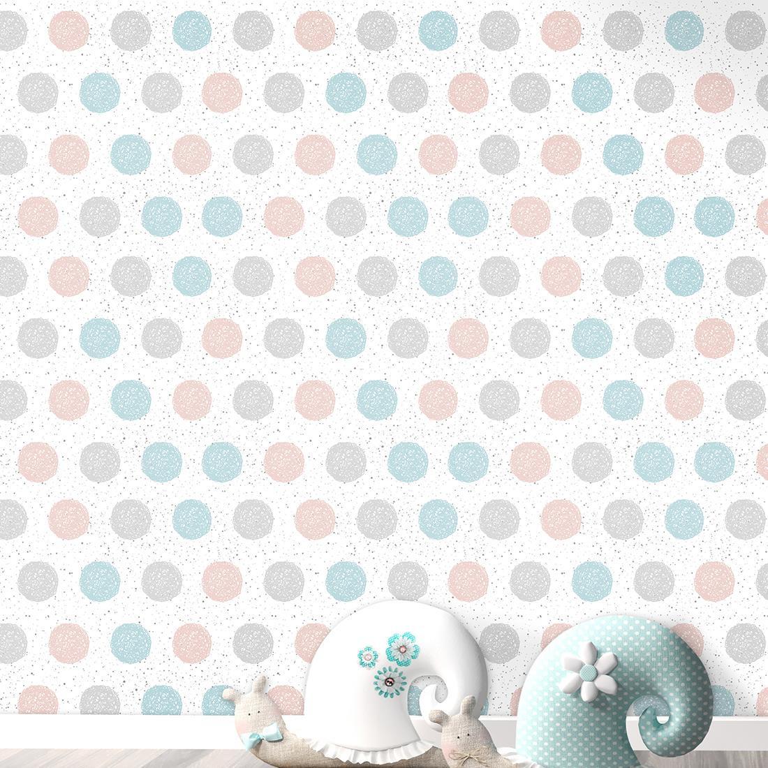 Papel de parede adesivo bolinhas azul cinza e rosa paper for Papel decorativo azul