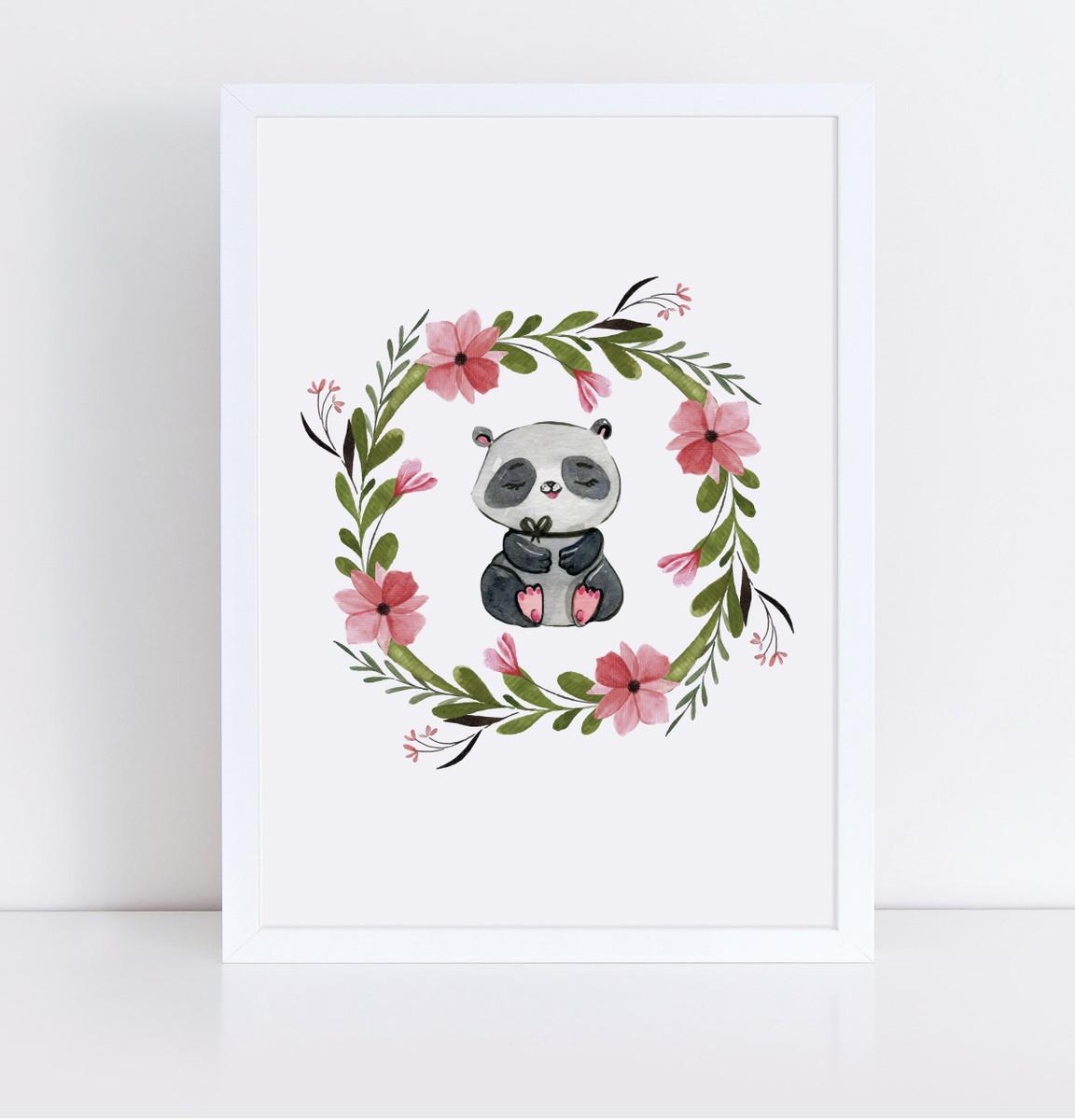 c54361689e9a33 Arte Digital: Quadro para Quarto de Bebê Panda