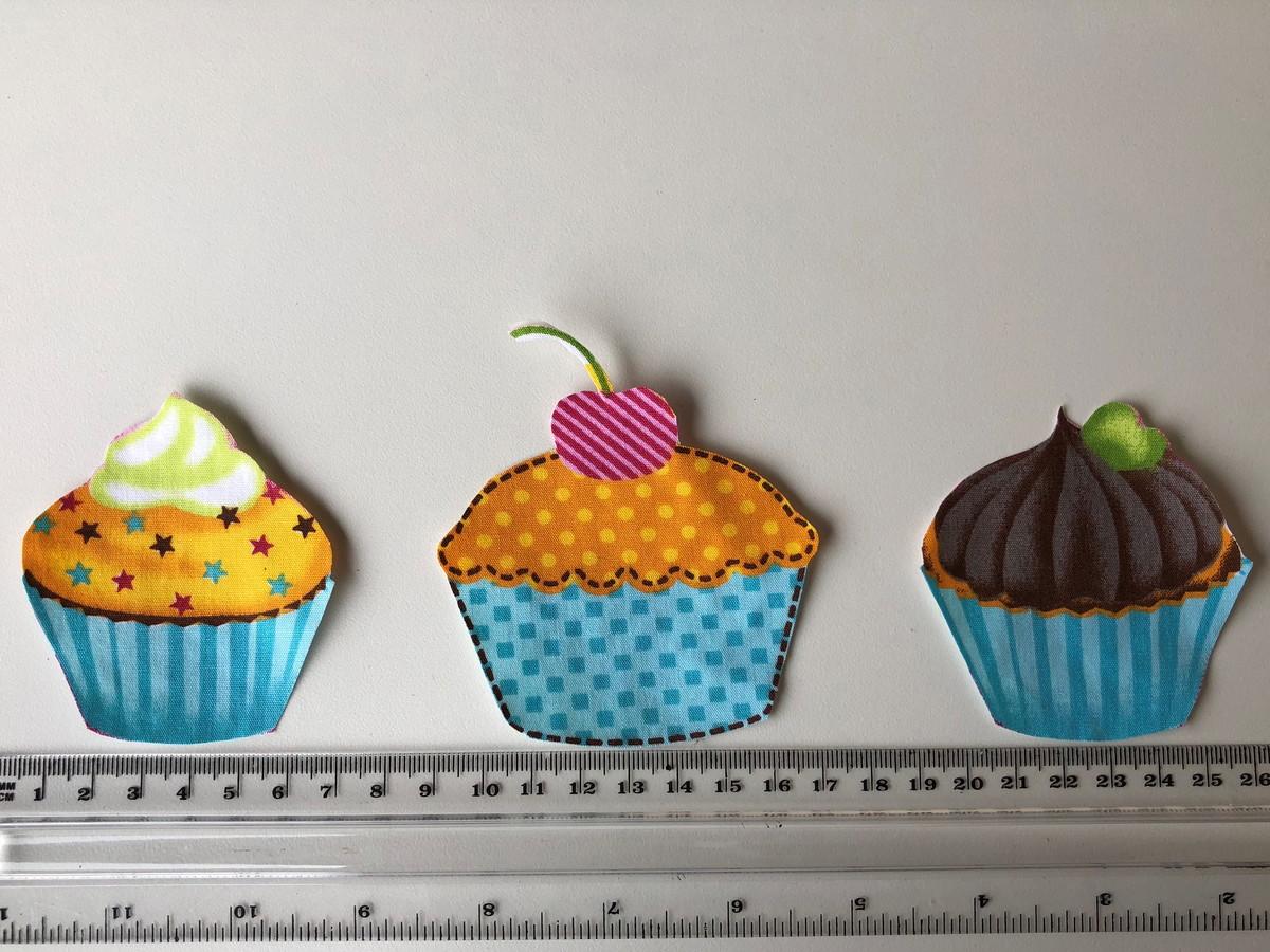 Patch Aplique Termocolante 3 Cupcakes Azul No Elo7 Patch Familia