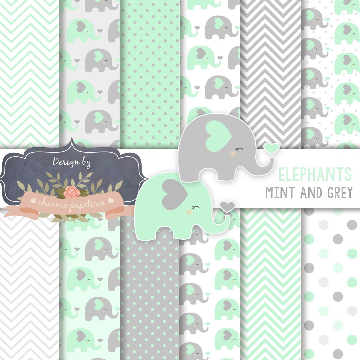papel digital elefante cinza e verde elefantinho menta e
