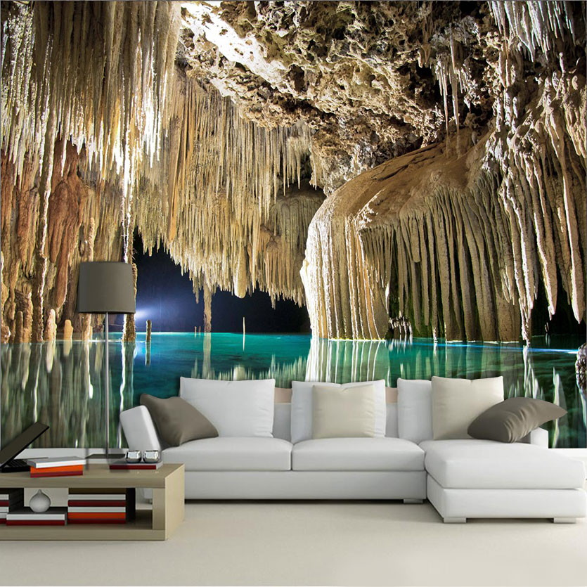 Papel de parede para sala 3d cavernas 0004 harmonize for Sala de estar com papel de parede 3d