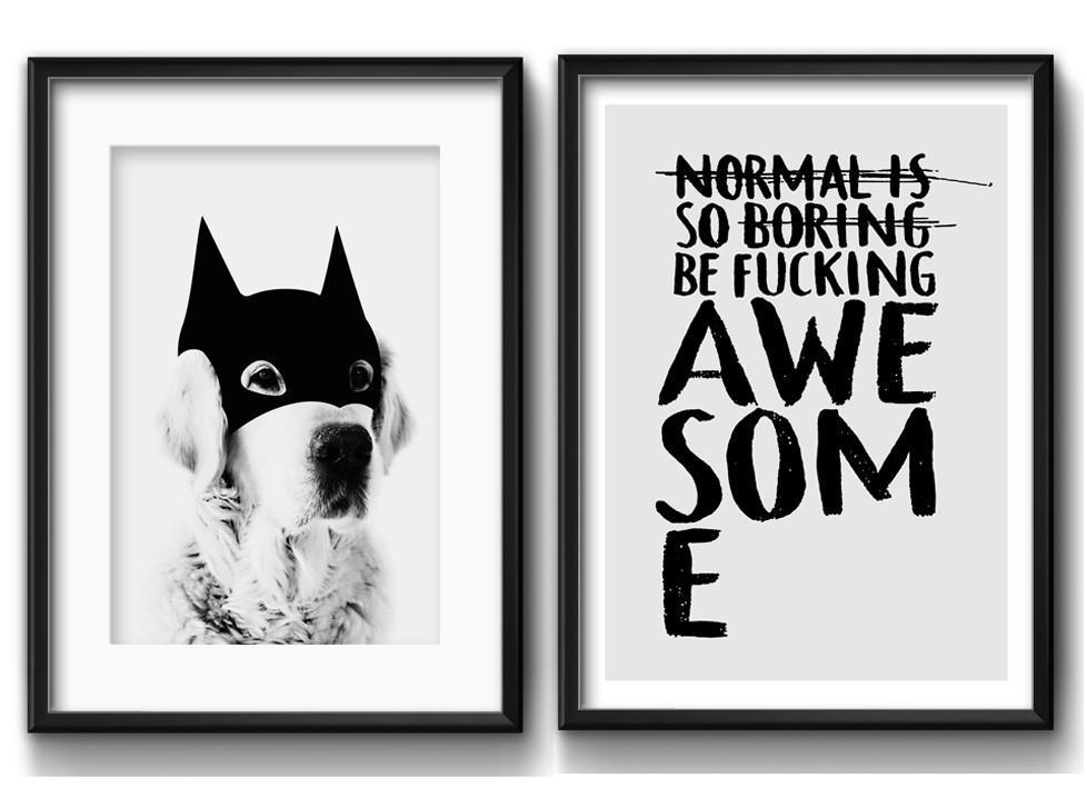 2 Quadros Cachorro Batman Frase Preto Branco Com Paspatur No Elo7