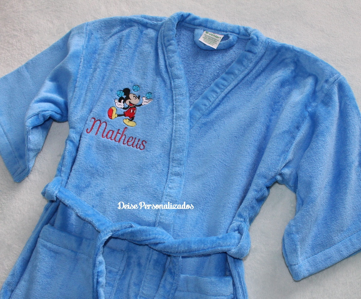 33b7fd84a5 Roupão infantil bordado Mickey no Elo7