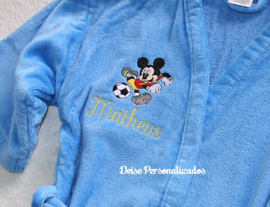 57fabf9bc73fb3 Roupão infantil bordado Mickey