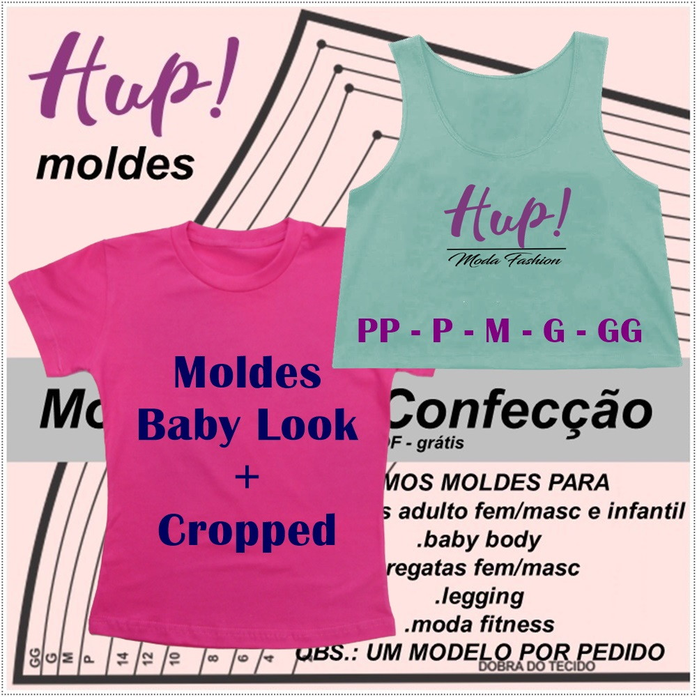 Kit Moldes Cropped + Baby Look - PDF no Elo7  ec7ec460643