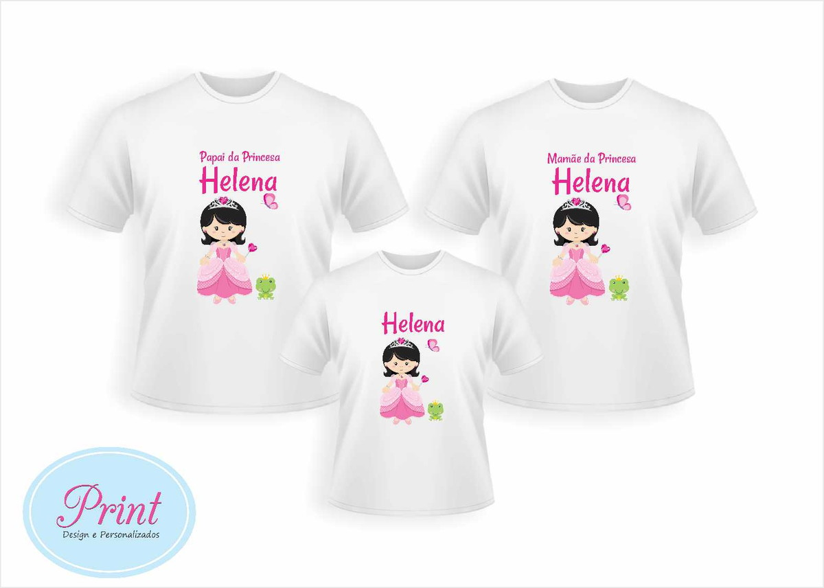 6f6f8d60d Kit 3 Camisas Personalizadas Princesa no Elo7