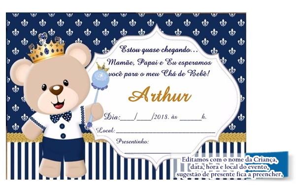 Convite Para Chá De Bebê Urso Príncipe No Elo7 Acriativa Presentes