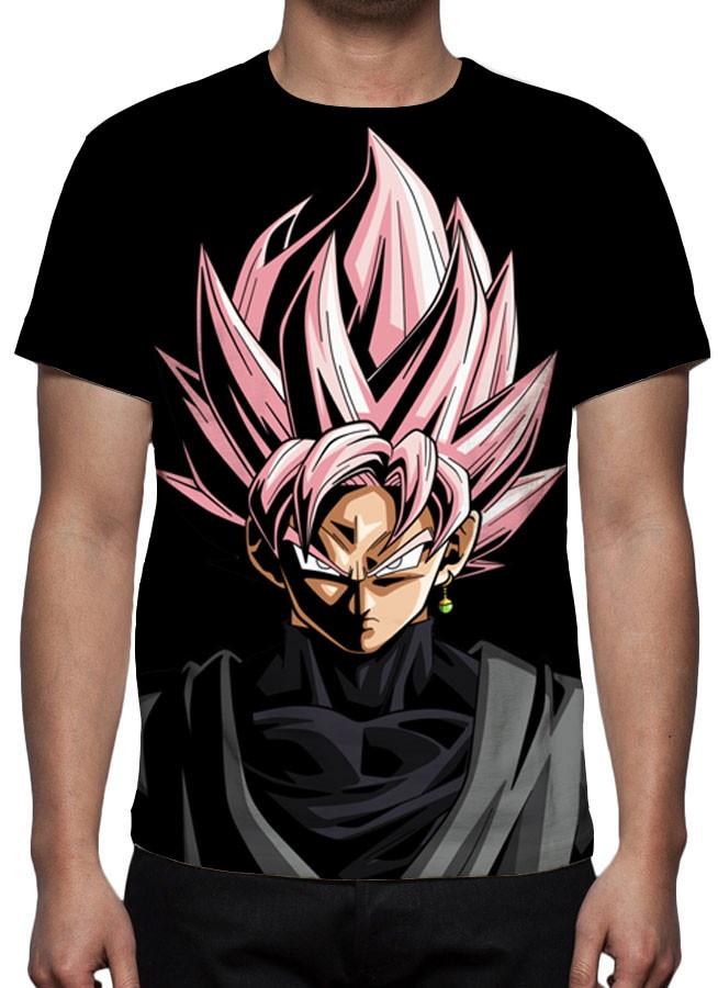 af7ec8687 Camiseta Dragon Ball Super Goku Black Rosé Face no Elo7