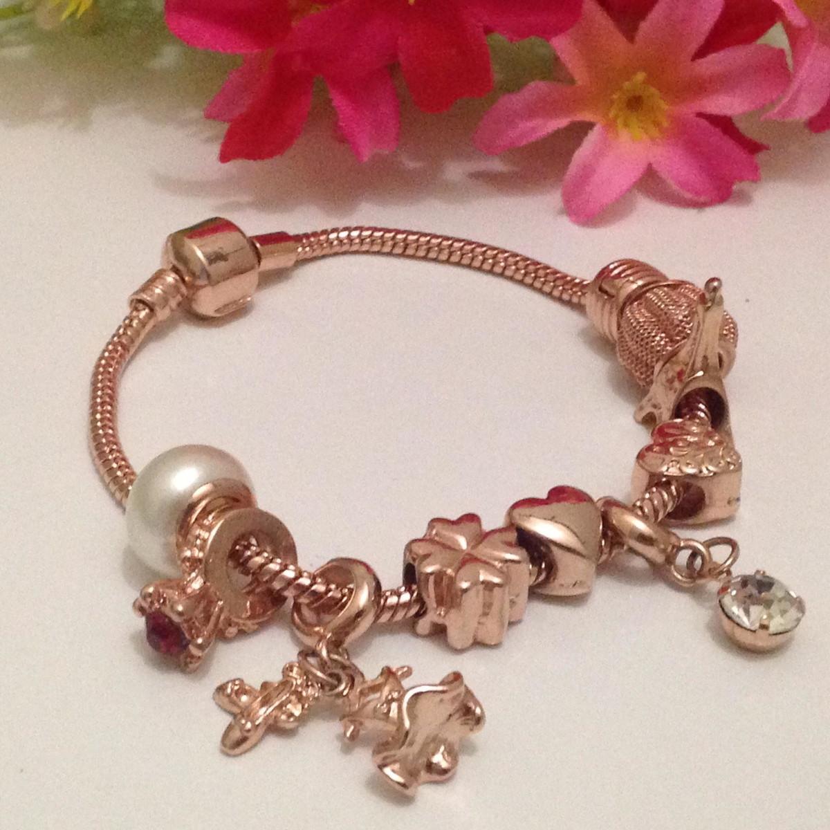 d04c91338 Pulseira de Berloque completa Banho Ouro Rose estilo Pandora no Elo7 ...