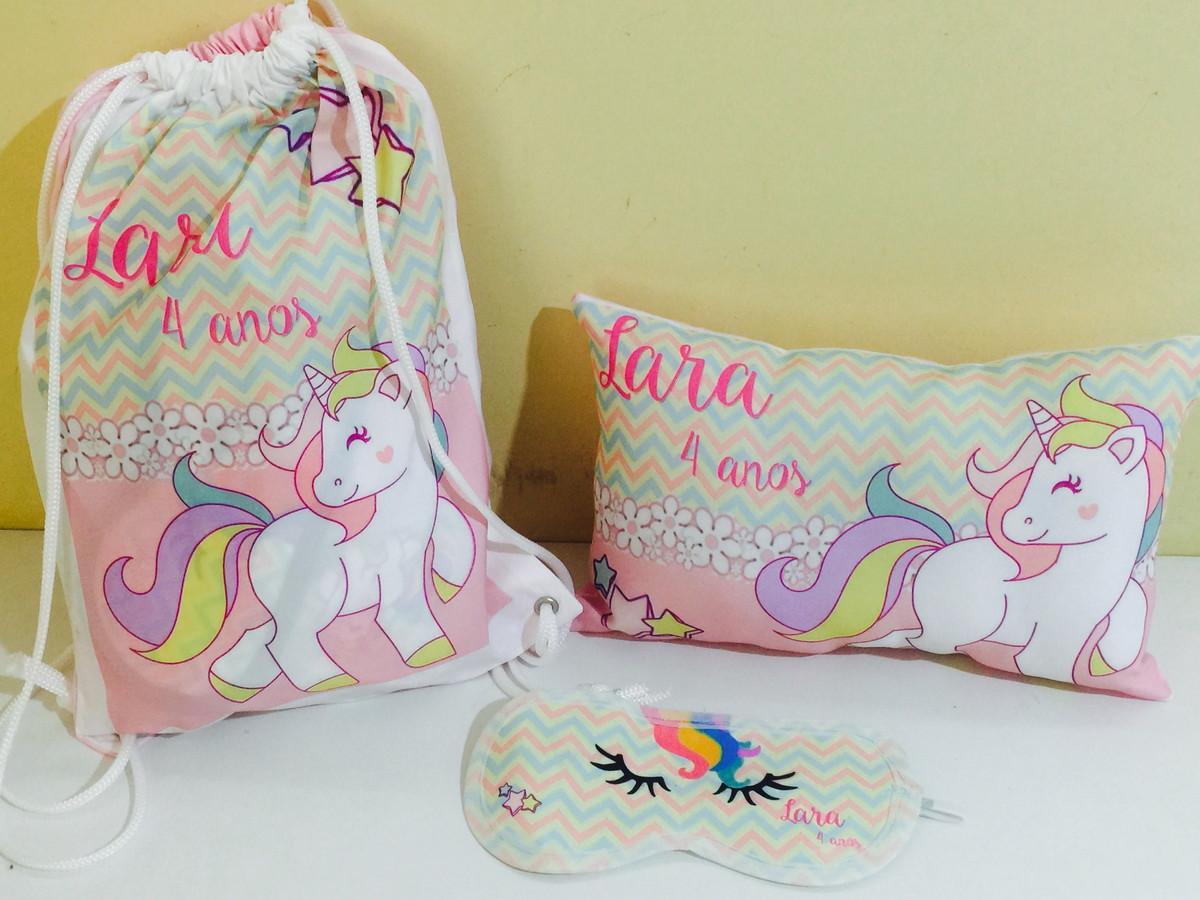 1c05877aa55f49 kit festa do pijama unicornios mochila almofada tapa olhos