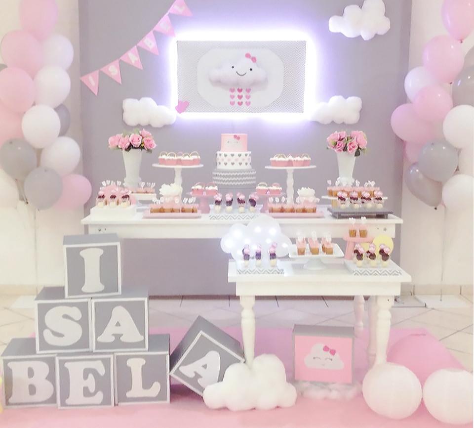 Aluguel Decoraç u00e3o de Festa rosa Nuvem chuva de amor benç u00e3o no Elo7 KING PANDA FESTAS (B14D72) -> Decoração Chá De Bebê Nuvem