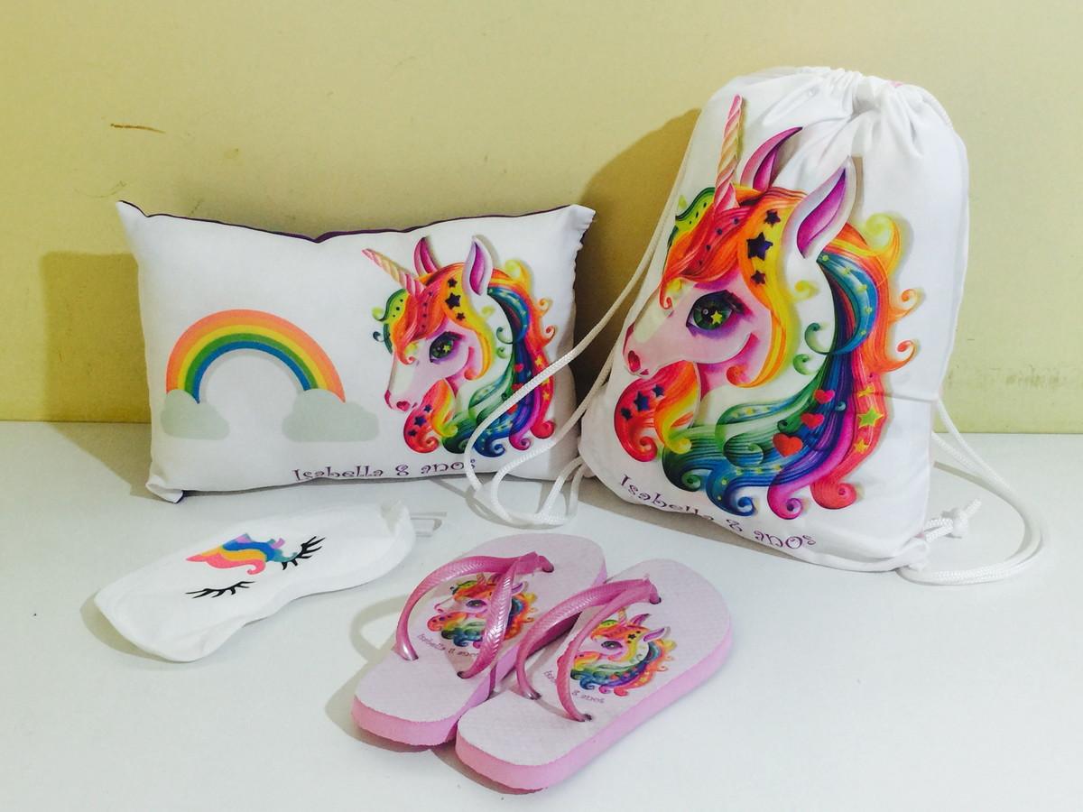 32dbaf61f80d8d kit festa do pijama unicornio chinelo mochila tapa olhos