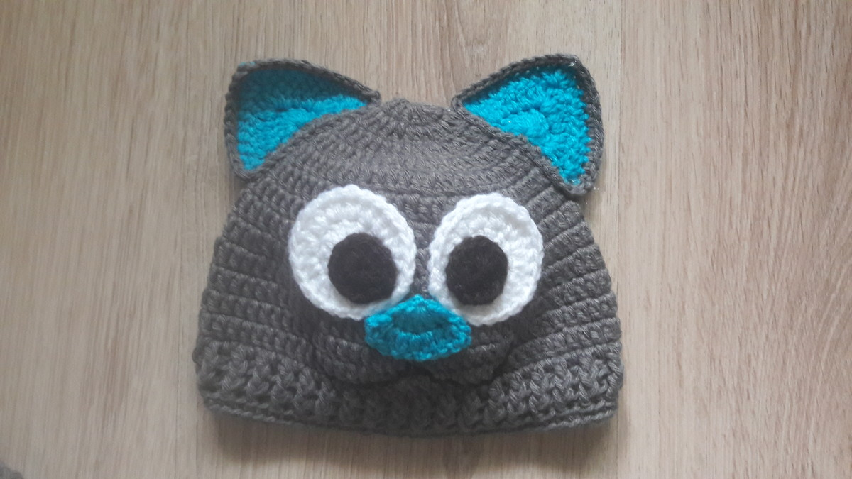 Touca de Croche gatinho azul no Elo7  d49587f3346