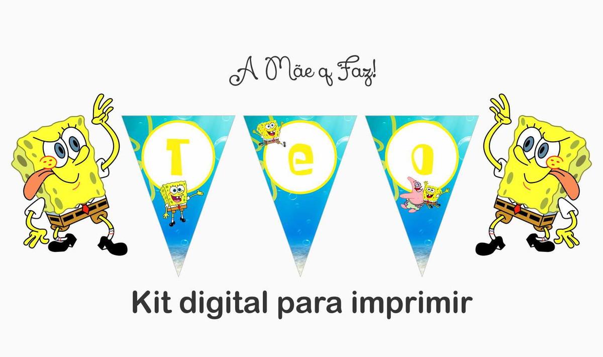 Bandeirolas Bob Esponja 02 Arte Para Imprimir No Elo7 A Mae Q