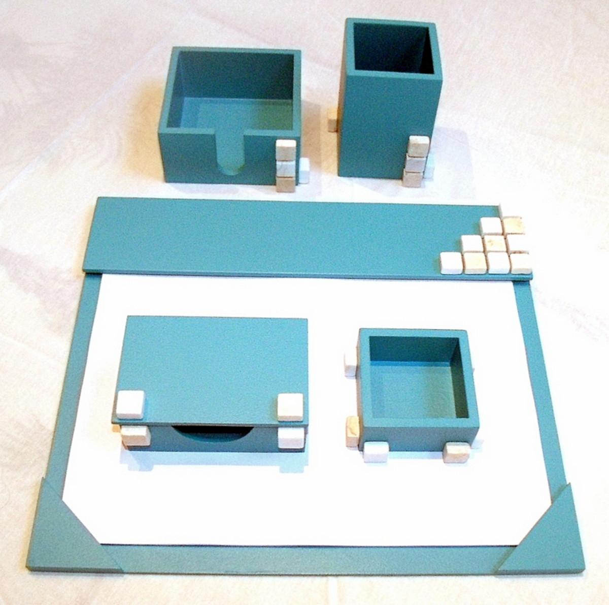 Organizador de mesa c 5 peças turquesa c pastilhas em pedra no Elo7 ... 891338395577e