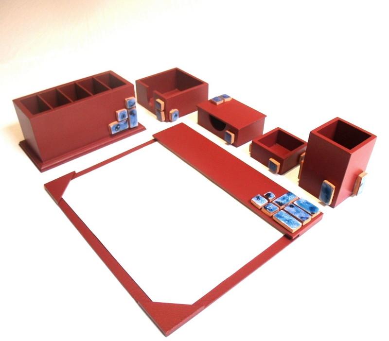 Organizador de mesa com 6 peças cor vinho com pastilhas no Elo7 ... 74ad921b96576