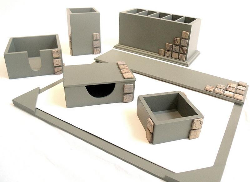 Organizador de mesa com 6 peças cor concreto com pastilhas no Elo7 ... 34c218543111e